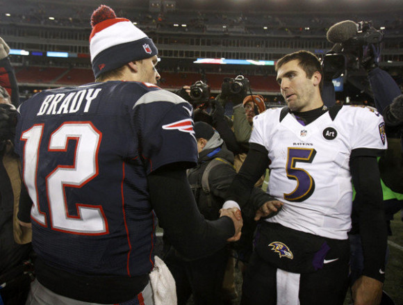 New England Patriots quarterback Brady shakes the hand of Baltimore Ravens quarterback Flacco after the Ravens defeated the Patriots in the NFL AFC Championship football game in Foxborough